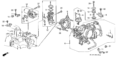 1991 NSX 2 DOOR 4AT THROTTLE BODY (1) diagram