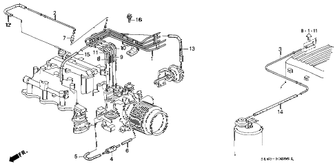 1992 NSX 2 DOOR 5MT INSTALL PIPE - TUBING (1) diagram