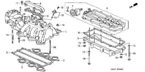 1995 NSX 2 DOOR 4AT INTAKE MANIFOLD diagram