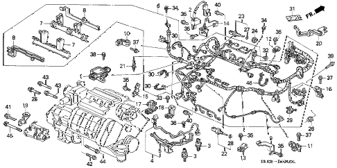 1995 NSX 2 DOOR 4AT ENGINE WIRE HARNESS - CLAMP diagram