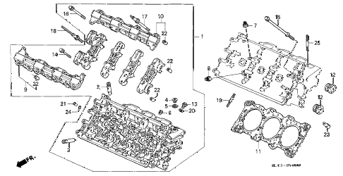 1997 NSX-T 2 DOOR 4AT CYLINDER HEAD (FR.) diagram