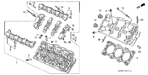 2000 NSX 2 DOOR 6MT CYLINDER HEAD (RR.) diagram