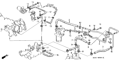 1993 NSX 2 DOOR 5MT OIL COOLER HOSE (1) diagram