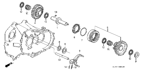 1992 NSX 2 DOOR 5MT 5MT REVERSE GEAR SHAFT diagram
