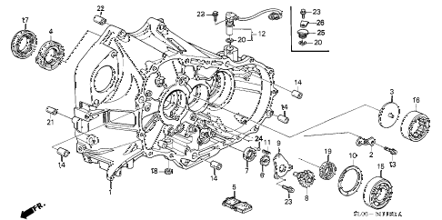 1997 NSX 2 DOOR 6MT 6MT CLUTCH HOUSING diagram
