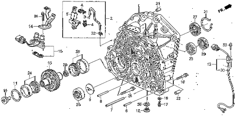 1992 VIGOR LS 4 DOOR 4AT AT TORQUE CONVERTER HOUSING diagram