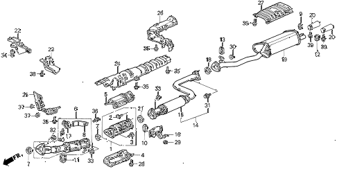 1994 VIGOR GS 4 DOOR 4AT EXHAUST SYSTEM diagram