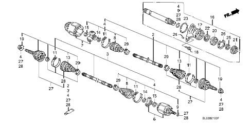 1994 VIGOR GS 4 DOOR 4AT DRIVESHAFT diagram