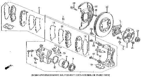 1994 VIGOR LS 4 DOOR 4AT FRONT BRAKE diagram