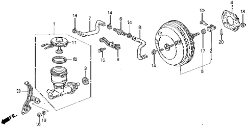 1994 VIGOR GS 4 DOOR 4AT BRAKE MASTER CYLINDER diagram