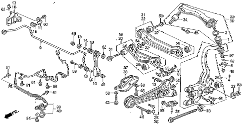 1992 VIGOR GS 4 DOOR 5MT REAR LOWER ARM diagram