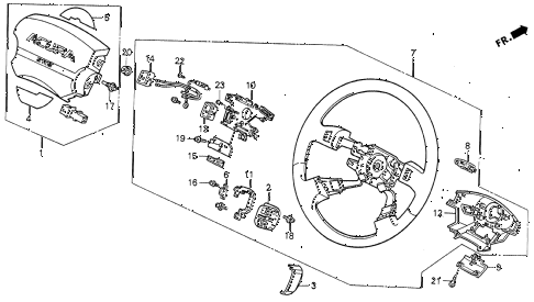 1993 VIGOR LS 4 DOOR 4AT STEERING WHEEL diagram