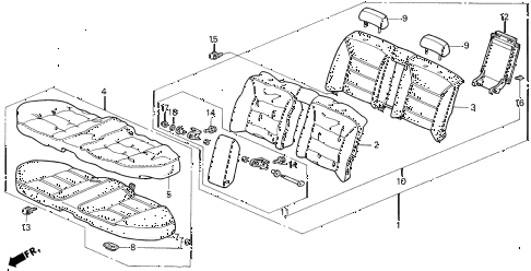 1993 VIGOR LS 4 DOOR 4AT REAR SEAT diagram