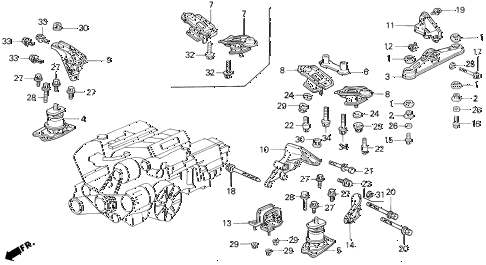 1993 VIGOR LS 4 DOOR 5MT ENGINE MOUNT diagram