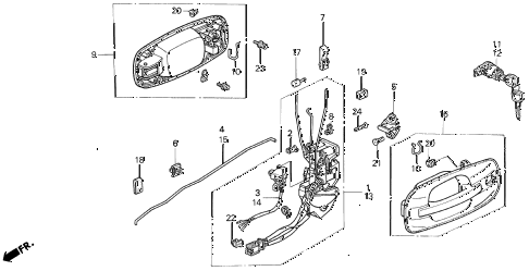 1993 VIGOR LS 4 DOOR 5MT FRONT DOOR LOCKS diagram