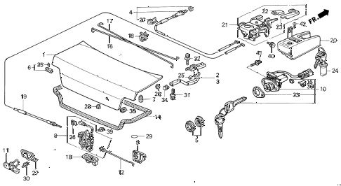 1994 VIGOR LS 4 DOOR 5MT TRUNK LID diagram