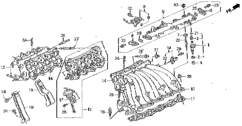 1994 VIGOR GS 4 DOOR 4AT INTAKE MANIFOLD diagram