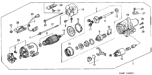 1992 VIGOR LS 4 DOOR 4AT AT STARTER MOTOR (MITSUBISHI) diagram