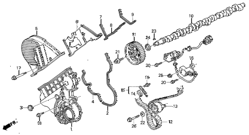 1993 VIGOR GS 4 DOOR 5MT CAMSHAFT - TIMING BELT diagram