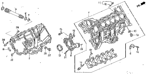 1993 VIGOR GS 4 DOOR 5MT CYLINDER BLOCK - OIL PAN diagram