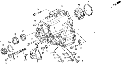 1992 VIGOR LS 4 DOOR 5MT MT TRANSMISSION HOUSING diagram
