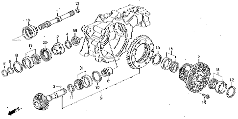 1993 VIGOR LS 4 DOOR 5MT MT DIFFERENTIAL GEAR diagram