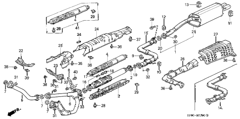 1991 LEGEND LS 4 DOOR 5MT EXHAUST SYSTEM diagram