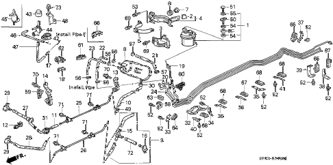 1992 LEGEND L 4 DOOR 5MT FUEL PIPE diagram