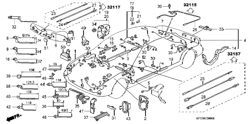 1995 LEGEND GS 4 DOOR 6MT WIRE HARNESS diagram