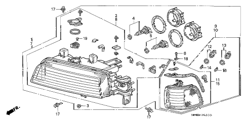 1993 LEGEND STD 4 DOOR 5MT HEADLIGHT diagram