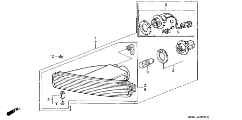 1995 LEGEND L*(MOQUETTE) 4 DOOR 5MT FRONT TURN LIGHT diagram