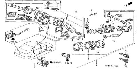 1993 LEGEND L 4 DOOR 5MT COMBINATION SWITCH diagram