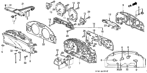 1991 LEGEND L 4 DOOR 5MT METER COMPONENTS diagram