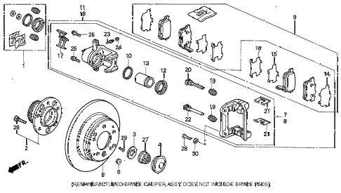1994 LEGEND L*(MOQUETTE) 4 DOOR 5MT REAR BRAKE diagram