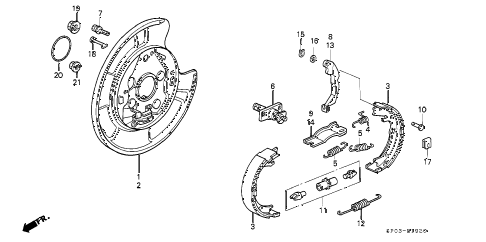 1993 LEGEND L 4 DOOR 5MT PARKING BRAKE diagram