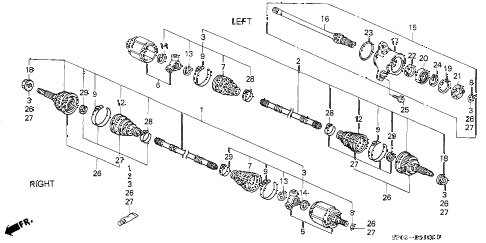 1994 LEGEND L 4 DOOR 4AT DRIVESHAFT diagram