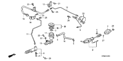 1992 LEGEND L*(MOQUETTE) 4 DOOR 5MT CLUTCH MASTER CYLINDER diagram
