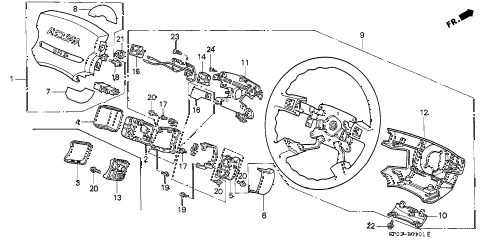 1991 LEGEND LS 4 DOOR 5MT STEERING WHEEL diagram