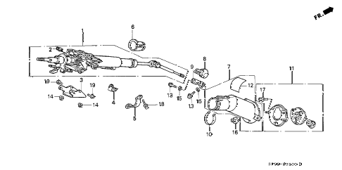 1992 LEGEND STD 4 DOOR 5MT STEERING COLUMN (1) diagram