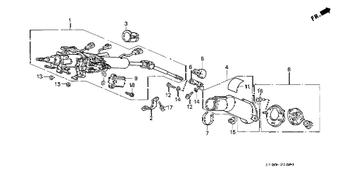1994 LEGEND LS 4 DOOR 4AT STEERING COLUMN (2) diagram