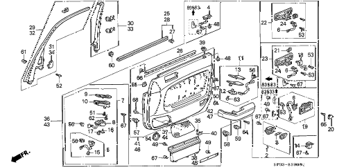 1993 LEGEND STD 4 DOOR 5MT FRONT DOOR LINING diagram