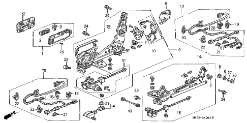 1993 LEGEND LS 4 DOOR 4AT FRONT SEAT COMPONENTS (3) diagram