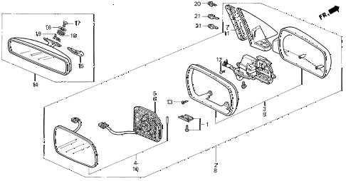 1995 LEGEND L 4 DOOR 4AT MIRRORS diagram