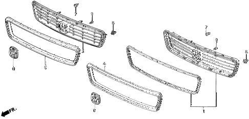 1993 LEGEND LS 4 DOOR 5MT FRONT GRILLE diagram