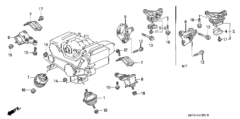 1992 LEGEND STD 4 DOOR 4AT ENGINE MOUNT (1) diagram