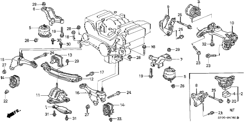 1993 LEGEND L 4 DOOR 4AT ENGINE MOUNT (2) diagram