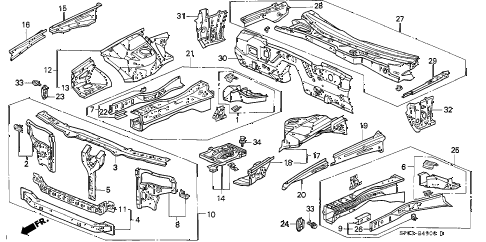 1995 LEGEND L 4 DOOR 5MT FRONT BULKHEAD diagram