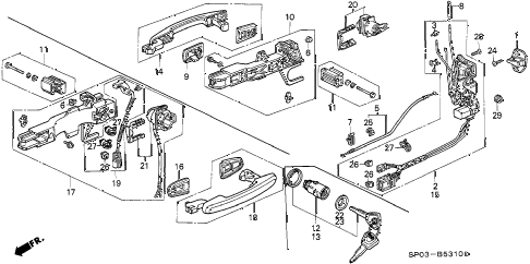 1992 LEGEND L 4 DOOR 4AT FRONT DOOR LOCKS (1) diagram