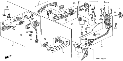 1995 LEGEND L 4 DOOR 5MT FRONT DOOR LOCKS (2) diagram