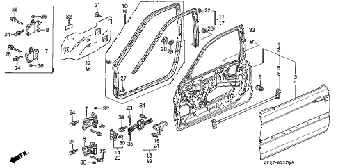 1992 LEGEND L*(MOQUETTE) 4 DOOR 5MT FRONT DOOR PANELS diagram